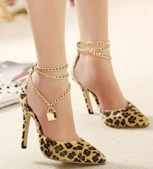 Elegant Leopard Print Point-Toe Lady High Heel Shoes