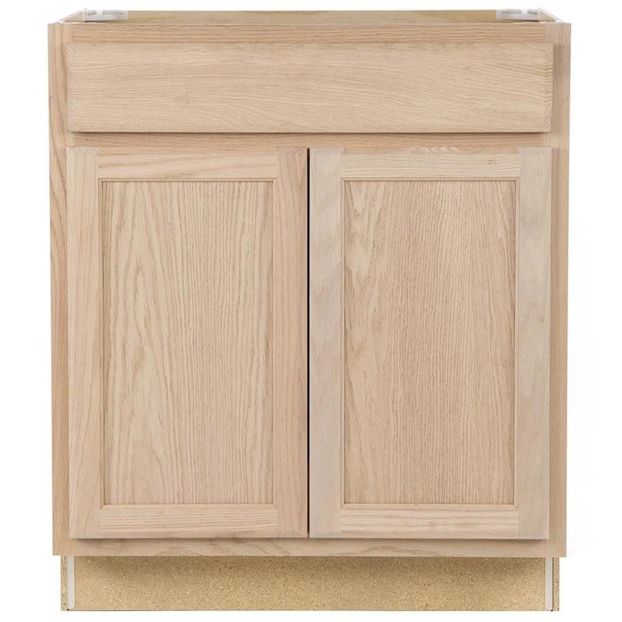 Project Source Unfinished 30 In Natural Bathroom Vanity Cabinet Lowes Com Stock Kitchen Cabinets Unfinished Kitchen Cabinets Stock Cabinets