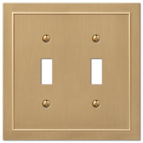 Amerelle Bethany 2 Gang Toggle Wall Plate Brushed Bronze