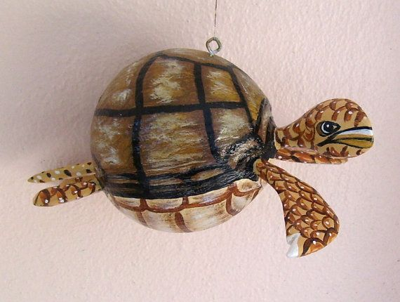 Sea Turtle Coconut Turtle Hand Painted And Hand Crafted From Real Coconut Seed Pod Turtle Hand Painted Coconut
