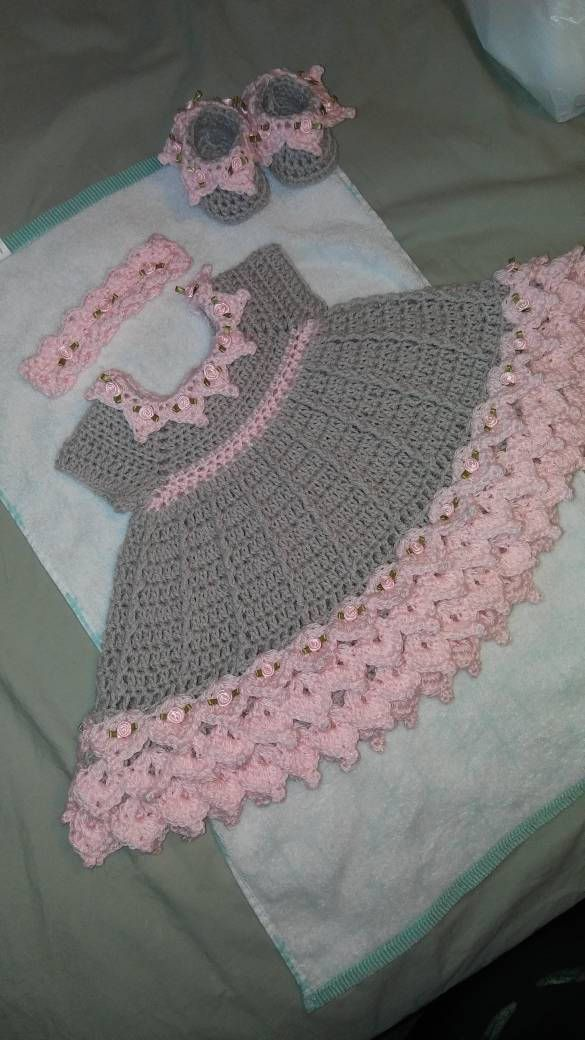 Crochet pink and gray baby dress set with rosebuds comes with ... 17c4cabb1c83