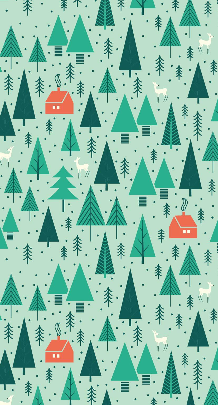 Whimsical Trees Print Greetabl Wallpaper Iphone Christmas Christmas Pattern Background Christmas Wallpaper Backgrounds