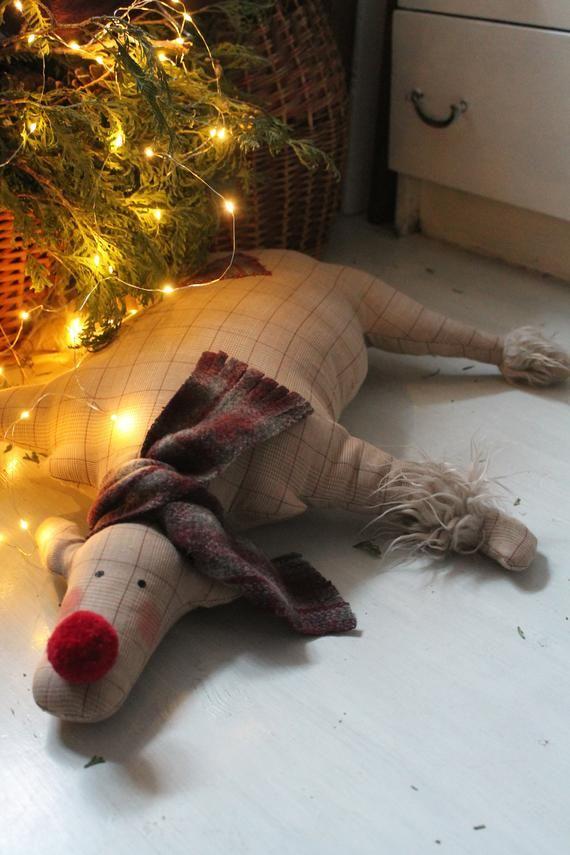 Handmade Deer Christmas decorations Christmas deer floor pillow Kids Christmas rug Deer Christmas ca