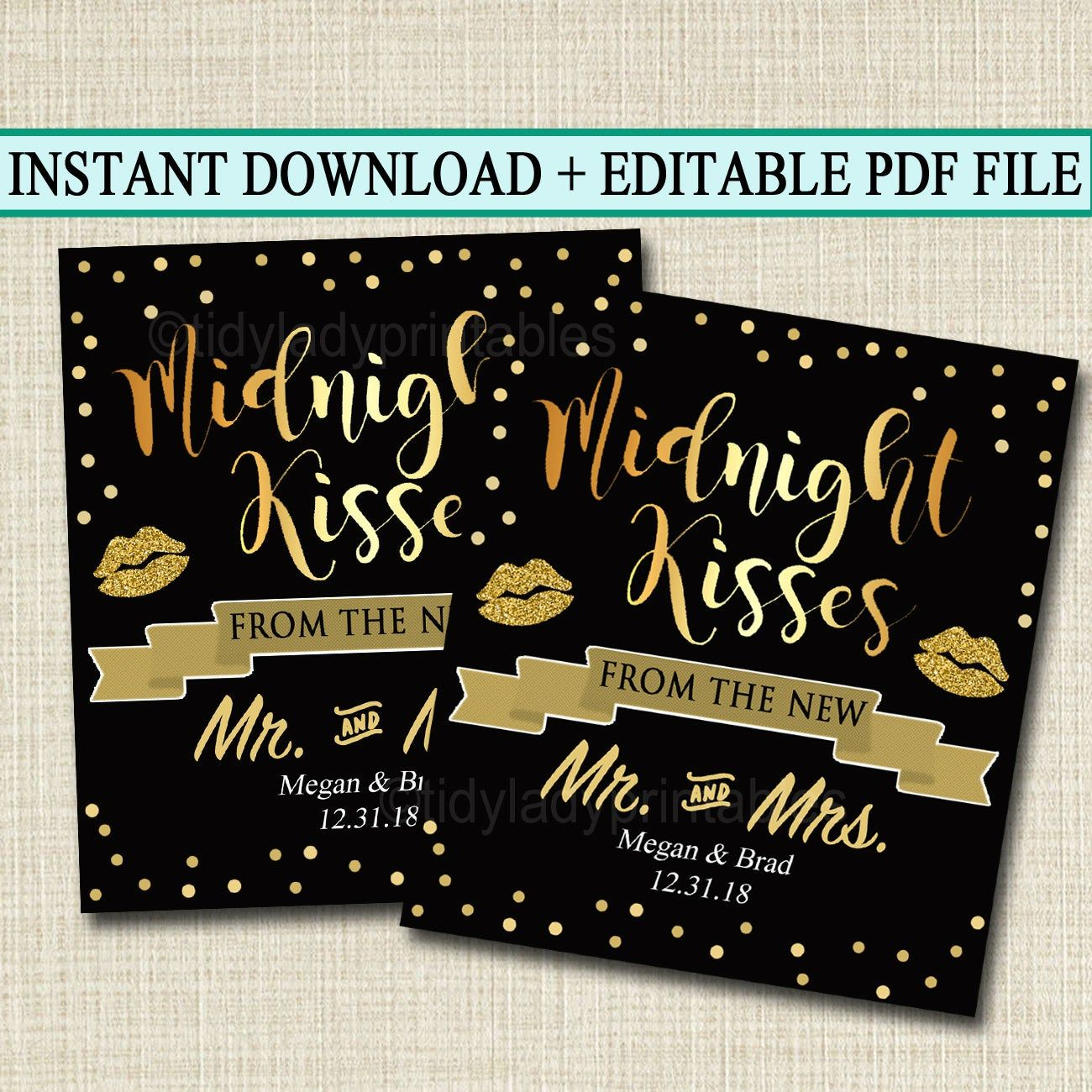EDITABLE Midnight Kisses Wedding Favor Tags, From the Mr. and Mrs. New Years Eve Day Wedding Black and Gold Party Favor Tag INSTANT DOWNLOAD