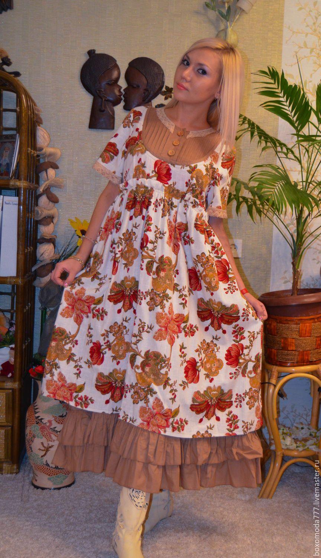 Купить платье бохо На пороге весна - белый, цветочный, бохо-стиль