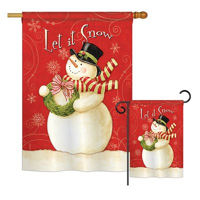 Breeze Decor Scarf Snowman Let It Snow Winter Christmas Impressions 2 Sided Polyester 40 X 28 In Flag Set Breeze Decor Christmas Flag Winter Christmas