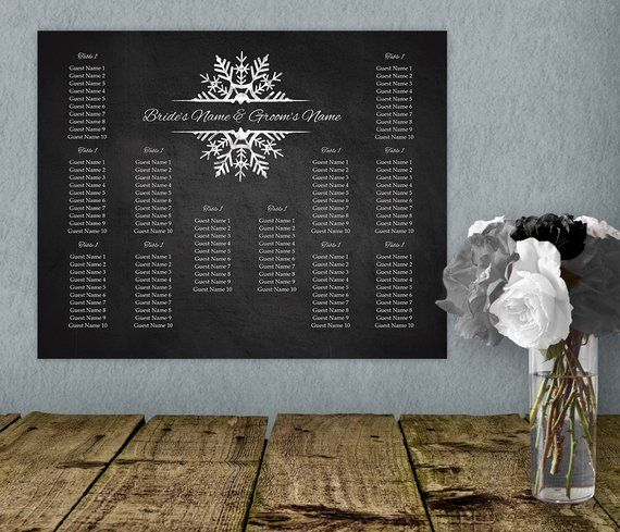 Snowflake Printable Winter Wedding Seating Chart Template