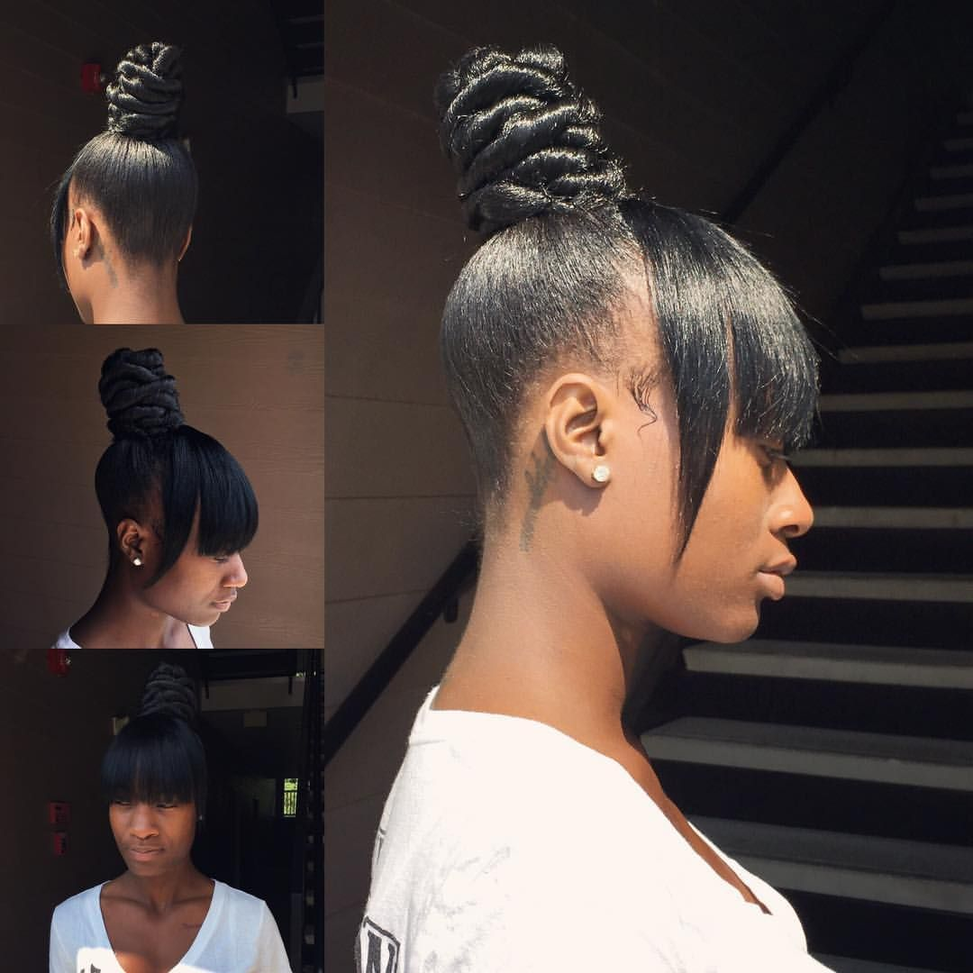 ninja bun and bang ❤ instaram @brittanyslays • 1 like | hair