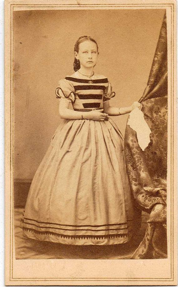 vintage cdv | Vintage CDV Photo Teen Girl Fashion Dress Hankie 1860s Antique