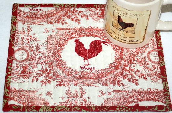 Rooster Mug Rug Quilted Snack Mat Red Cream By Redneedlequilts
