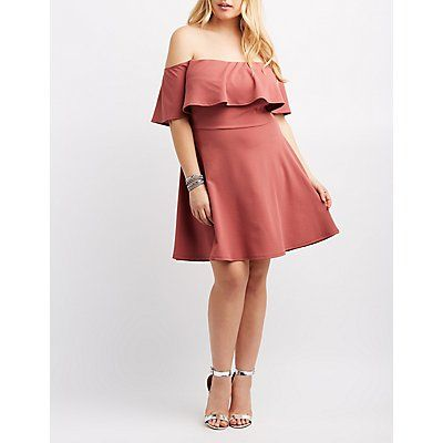 f0d5e9bcbe31 Plus Size Ruffle Off-The-Shoulder Skater Dress | Products | Skater ...