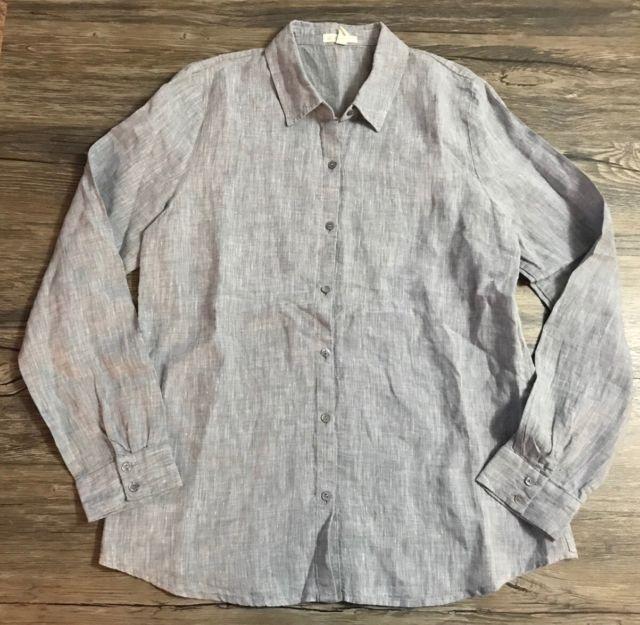 Eileen Fisher Linen Shirt Long Sleeve Button Fown Blue Womens Sz S Ebay Long Sleeve Shirts Linen Shirt Long Sleeve