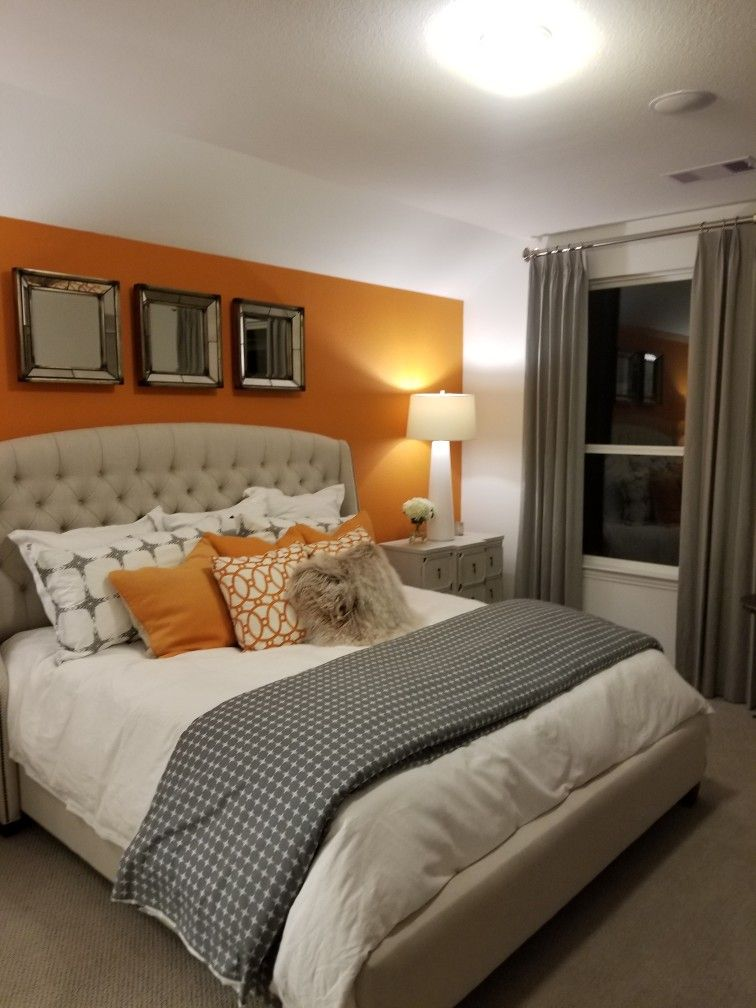 Orange And Gray Bedroom Orange Bedroom Walls Bedroom Orange