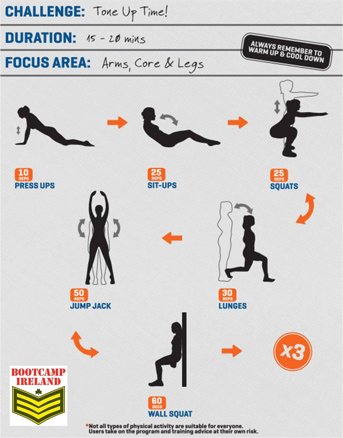 4 bootcamp ireland arms core legs workout fitness