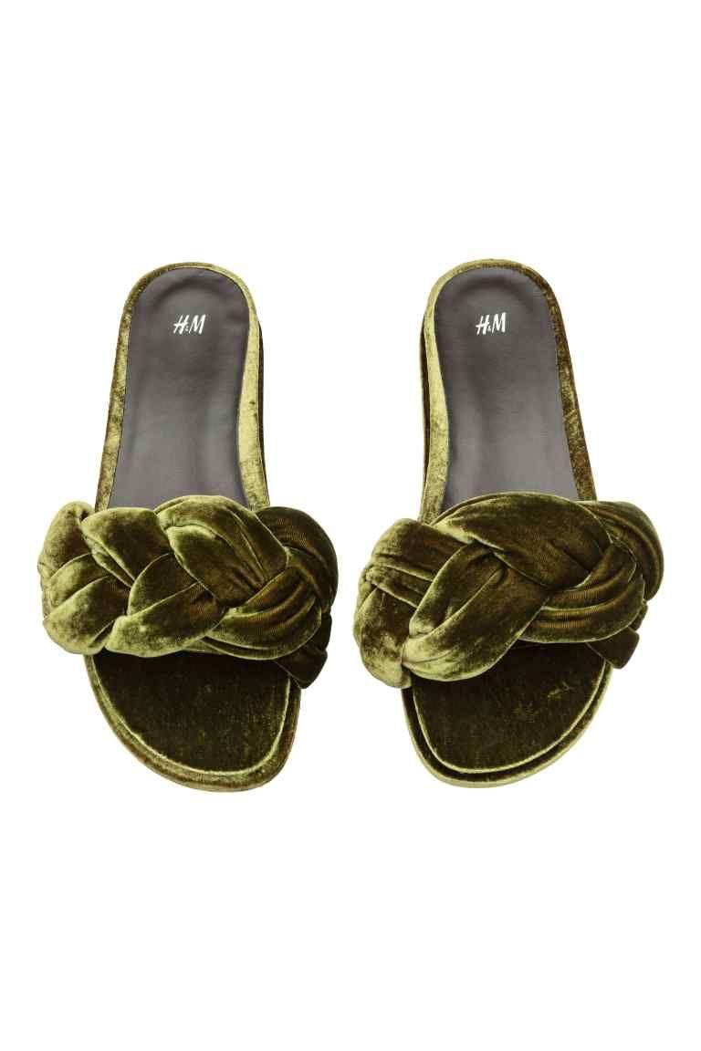Slides - Khaki green - Ladies   H&M CA