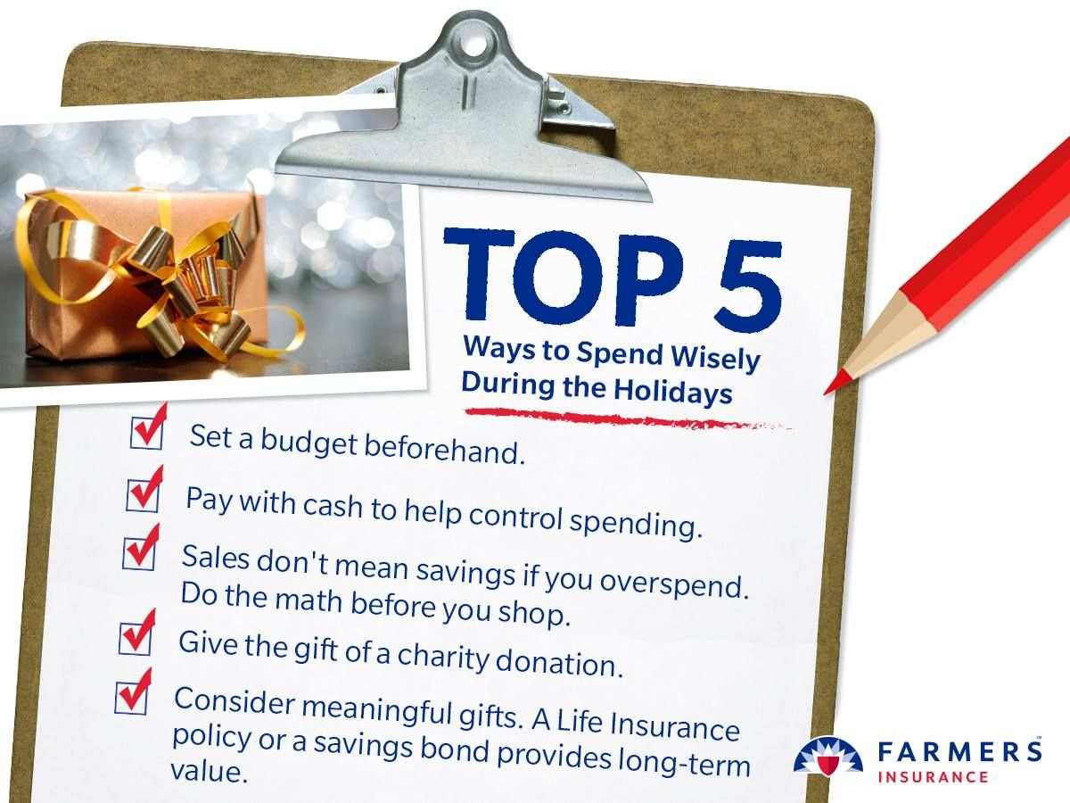 Overspending During The Holidays Can Make For An Unhappy New Year Control Your Costs And Start Farmers Insurance Life Insurance Agent Farmers Insurance Agent