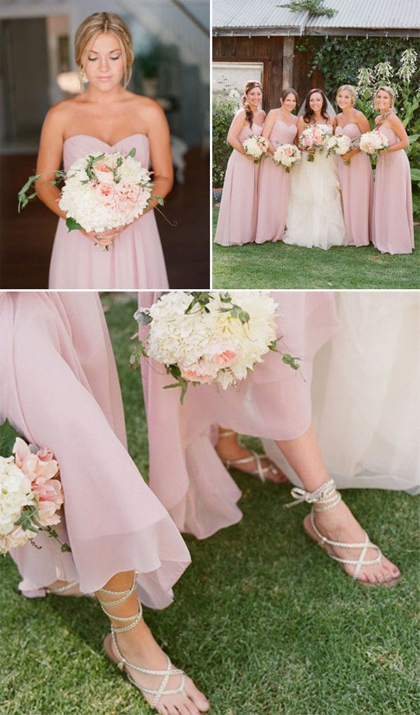 Long Flowing Bridesmaids Dresses Grecian Style Sandals Are Classy Comfortable A Great Idea For An Outdoor Wedding So Heels Dont Get Stuck