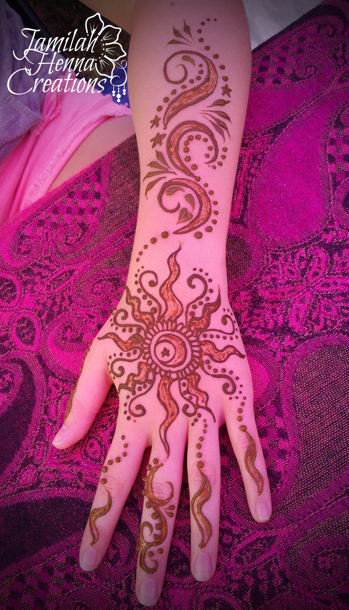 Sun Moon And Stars Henna Www Jamilahhennacreations Com Henna