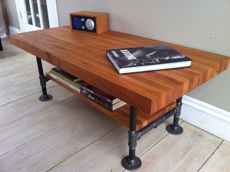 Cherry Coffee Table, Modern Industrial Style Featuring Butcher Block Top  And Steel Pipe Legs, X