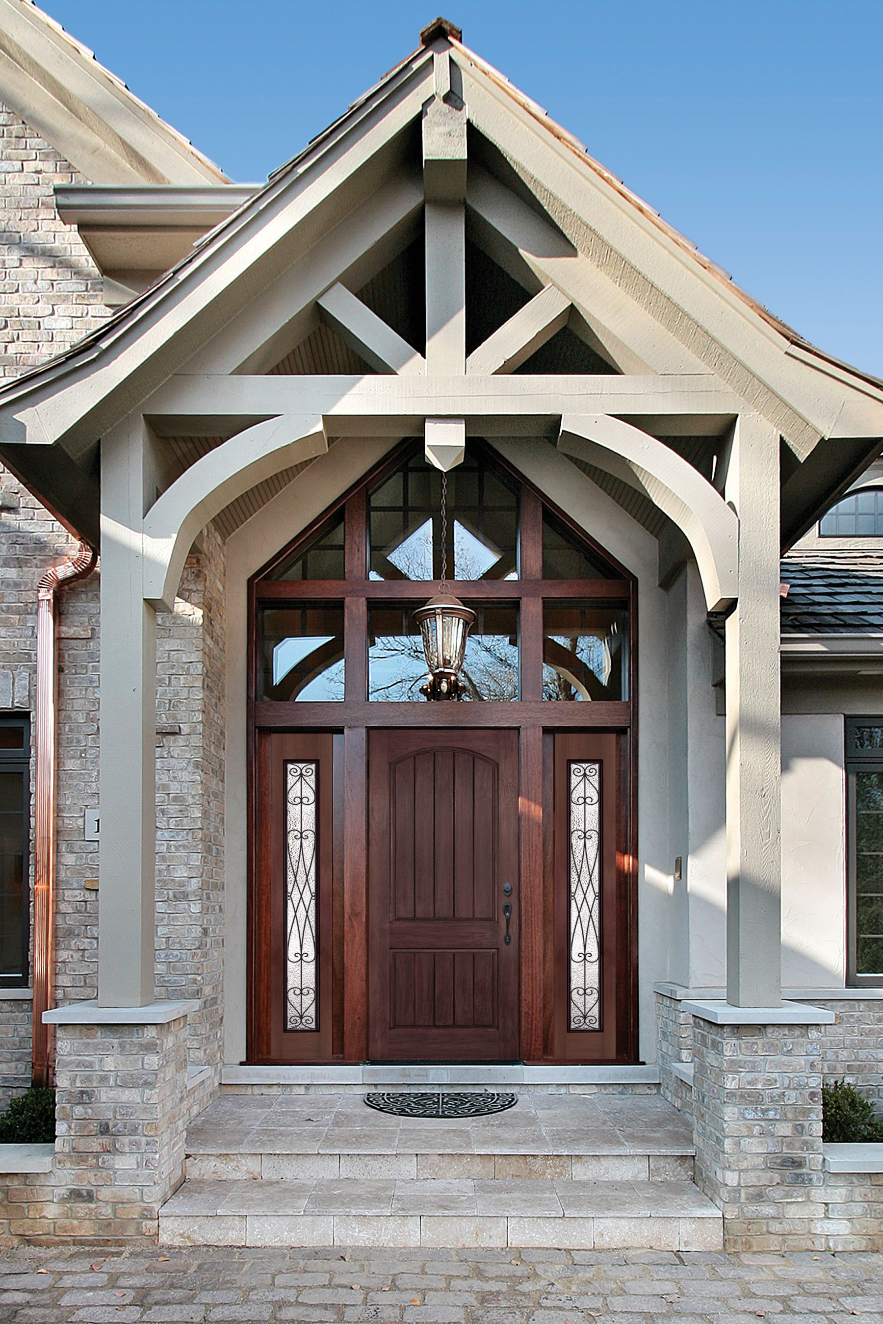 Builddirect American Door Company 36 X 96 Ph Stained Rustic 2 Panel Arch Top V Groove Fiberglass Door House Front House Exterior Exterior House Colors