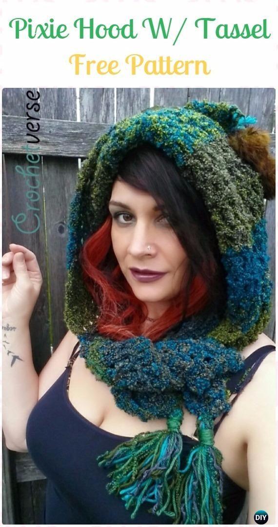 Crochet Woodland Pixie Hood Scoodie Paid Pattern - Crochet Hoodie ...