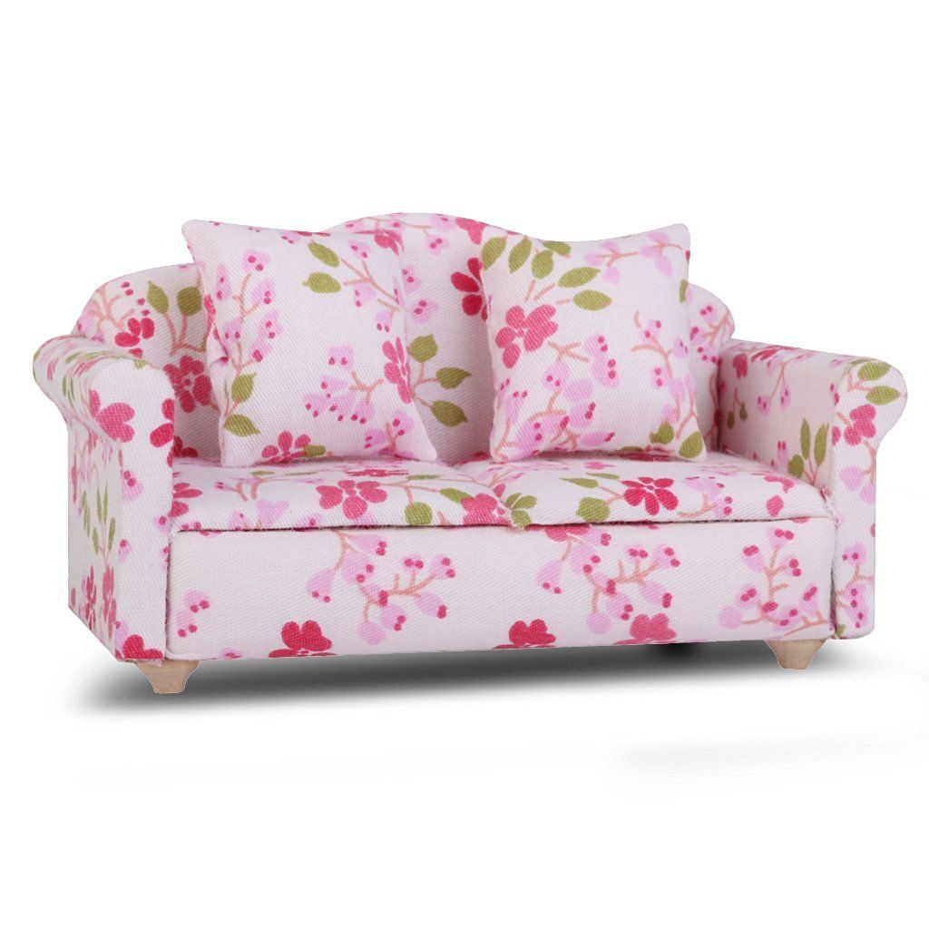 Amazoncom Dollhouse Miniature Flower Double Seat Sofa Couch
