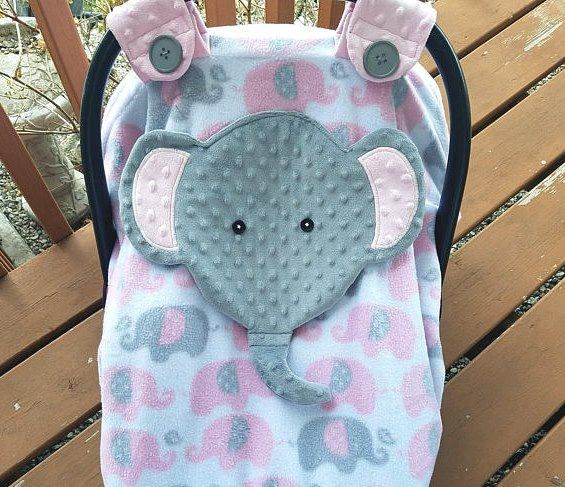 Ready To Be Shipped Fitted Elephant Carseat Canopy With Peek A Boo Opening By