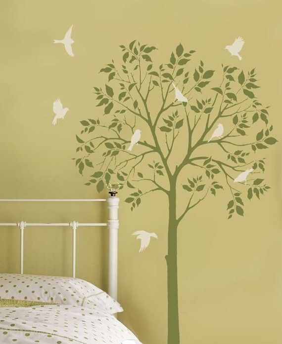 How to create a tree themed children\'s bedroom | Bird stencil ...