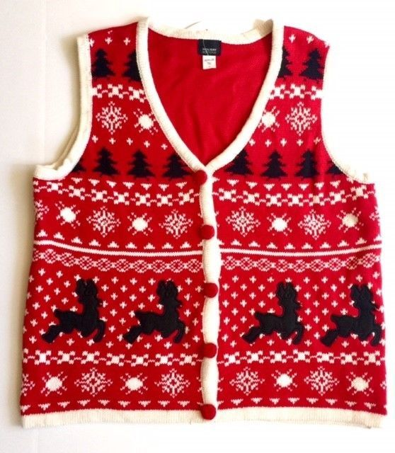 Womens Ugly Christmas Sweater Vest + Free Ugly Xmas Socks  Gloves