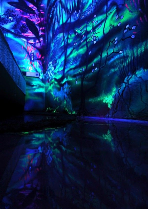Fluorescent Paint Creative Wall Painting With Night Lights Ends
