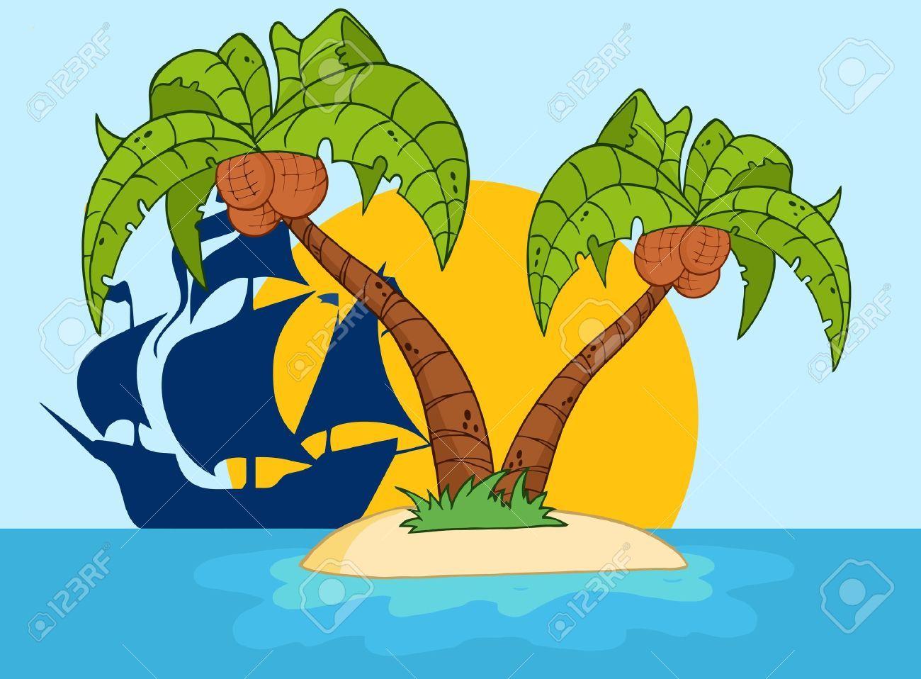 9634106 Isla De Dibujos Animados Con Dos Palmeras Y Barco Pirata Foto De Archivo Jpg 1300 958 Dibujo De Barco Isla Pirata Piratas