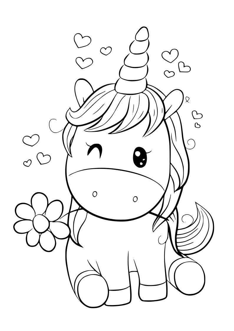 Dibujo Unicornio Kawaii En 2020 Unicornio Colorear Libros Para Pintar Unicornios Para Pintar
