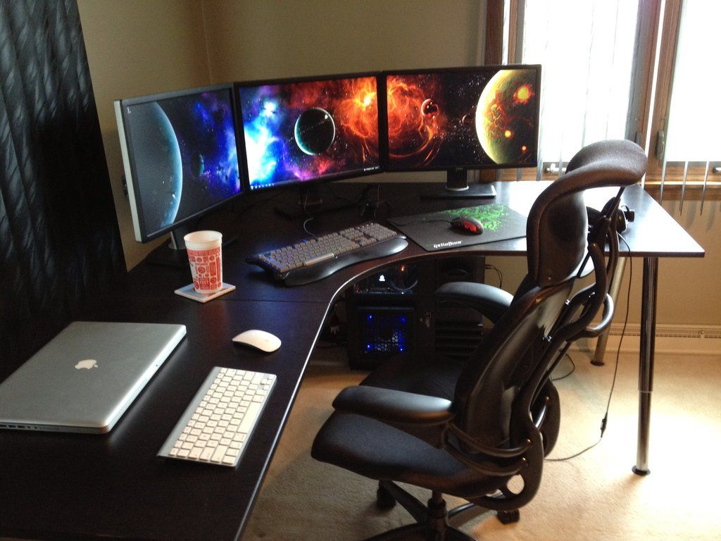 clean desk for computer games in the corner i would want something rh pinterest com corner gaming desk ikea corner gaming desk amazon