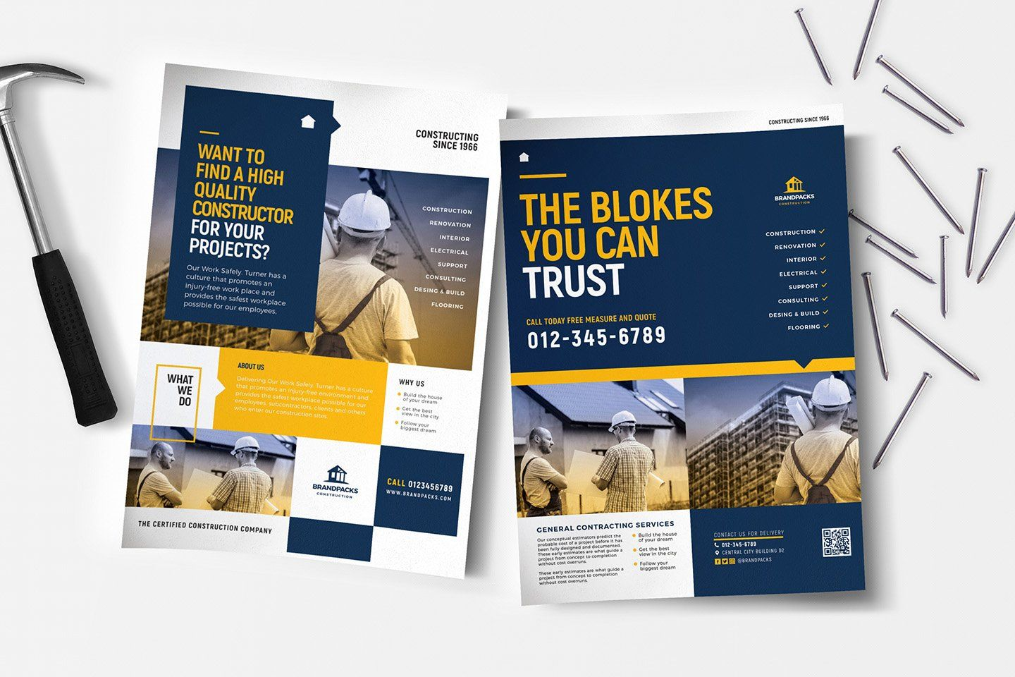 Construction Poster Flyer Templates With Images Advertisement