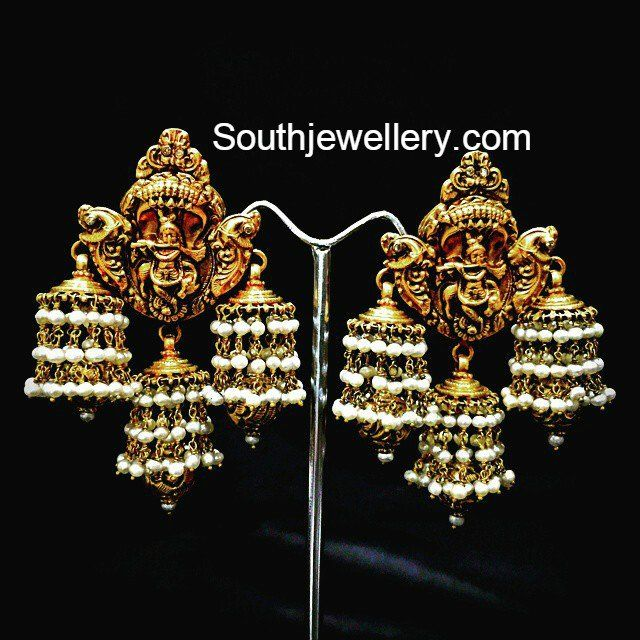 Lord Krishna Antique Jhumkis