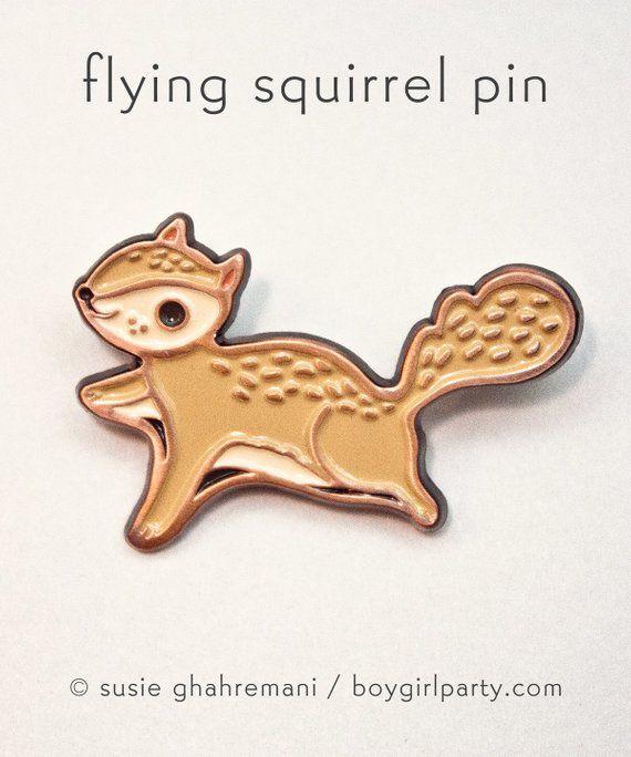 PINS : Flying Squirrel Pin Squirrel Enamel Pin Animal Enamel Pin