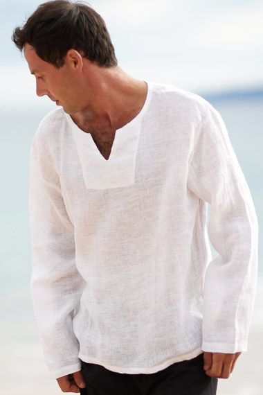 18213c9e5060 Men s Linen Gauze White Long Sleeve Beach Shirt... A casual Asian-style  Lanai pullover uses a lightweight
