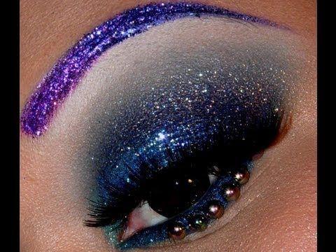 Photo of Purple Glitter Eyebrows and Glittery Smokey B