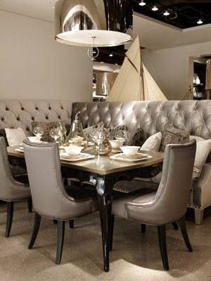 great idea for a dining area to use a cushioned bench or loveseat