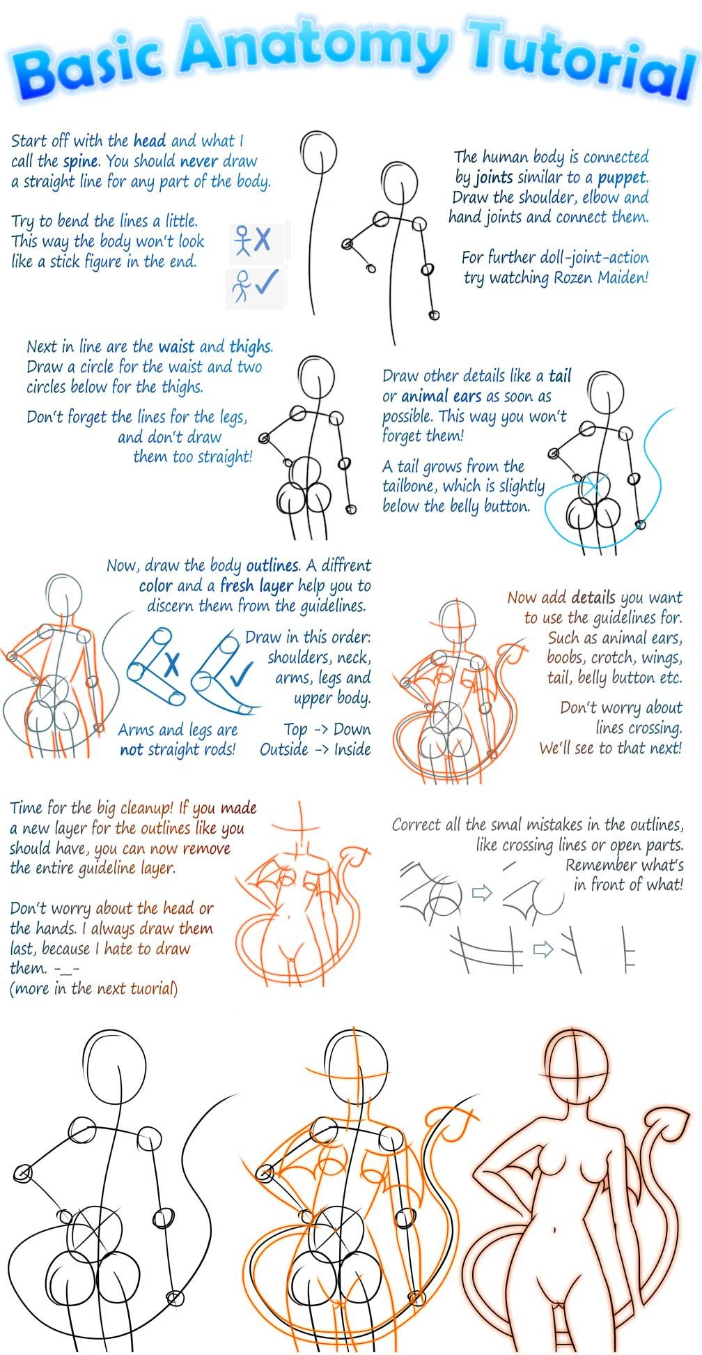 Basic Manga Anatomy Tutorial by =Tiiara | ♡ draw tutorial & pics ...
