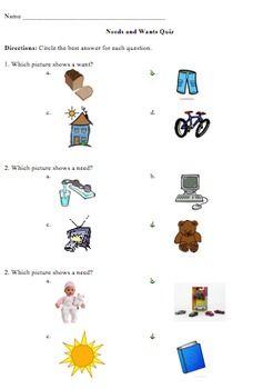3rd Grade Needs and Wants Quiz | 3rd grade social studies ...