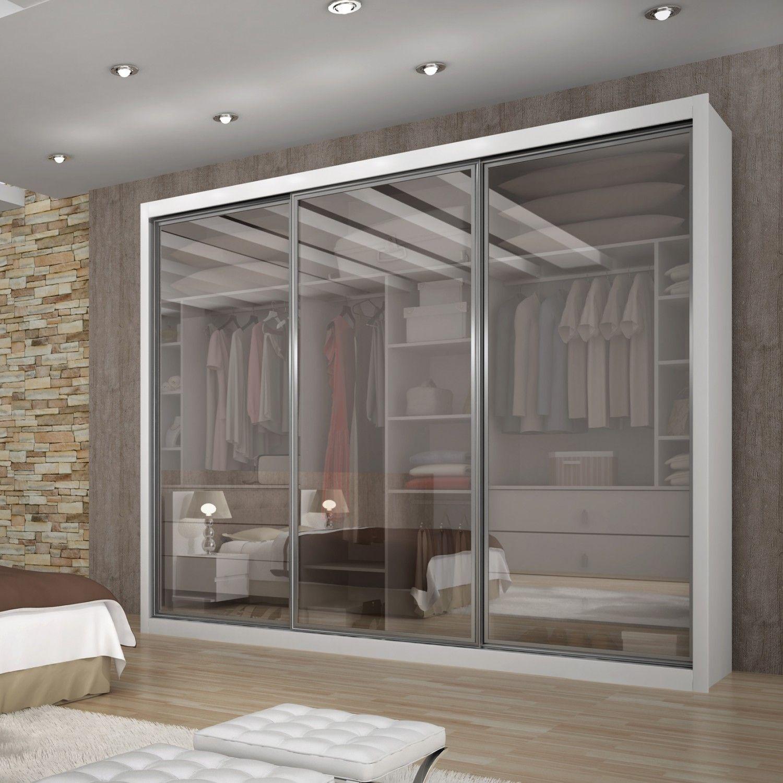 Compre guarda roupa casal com 3 portas em vidro ravena top for Armarios elegantes
