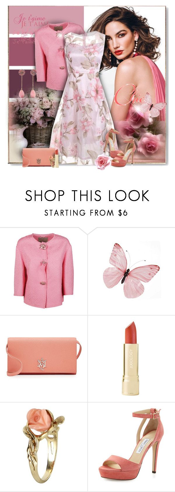 """""""Coral and Pink"""" by perla57 ❤ liked on Polyvore featuring Ermanno Scervino, Alexander McQueen, Vintage and Jimmy Choo"""