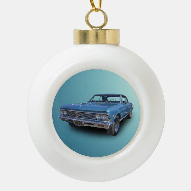 1966 CHEVROLET CHEVELLE CERAMIC BALL CHRISTMAS ORNAMENT