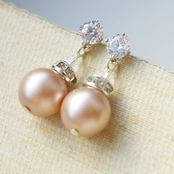 Champagne Pearl Earrings Rhinestone Bridal Sterling Silver Bridesmaids Jewelry Party Clic 42 00 Via Etsy