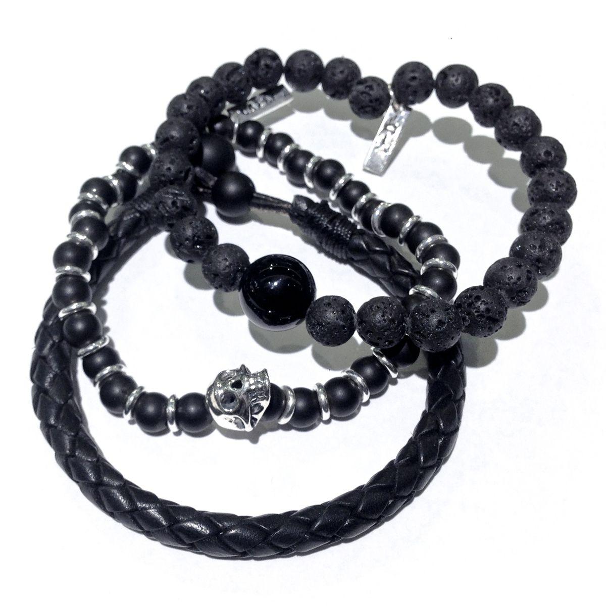 Lava leather u onyx menus stacked bracelets tatoos