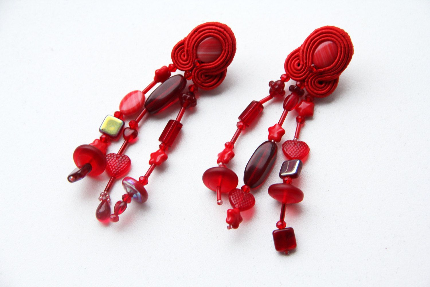 Long soutache clip ons with czech bead fringe , artisan clip ons handmade by DianaDeluxe on Etsy