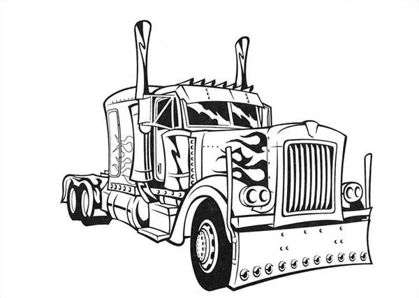 Transformer S Optimus Prime Semi Truck Coloring Page With Images