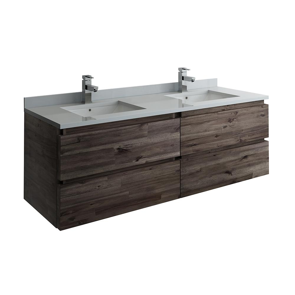 Fresca Formosa 60 in. Modern Double Wall Hung Vanity in Warm Gray with Quartz Stone Vanity Top in White with White Basins-FCB31-3030ACA-CWH-U