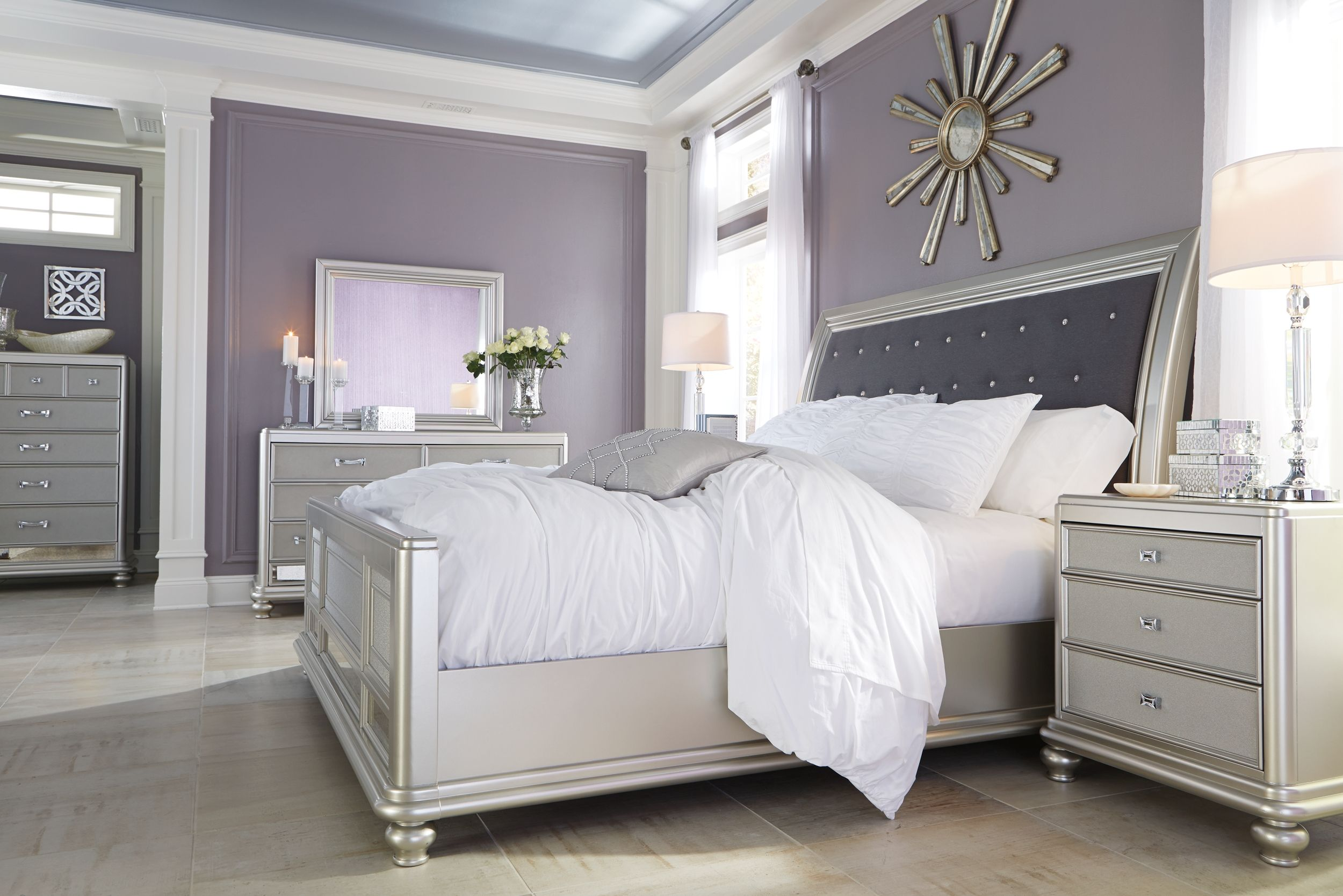 Coralayne California King Upholstered Sleigh Bed Silver